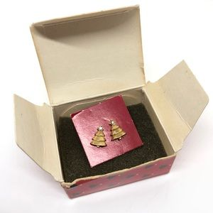 🆕Vintage Avon 1986 Gold Christmas Tree Earrings